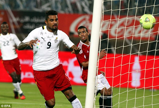On target: Kevin-Prince Boateng scored a consolation for Ghana on the night