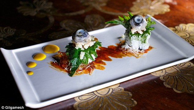 Does it look appetizing? Gilgamesh, a high-end pan Asian, are offering a selection of gruesome meals such as fish eye maki sushi rolls (£9)