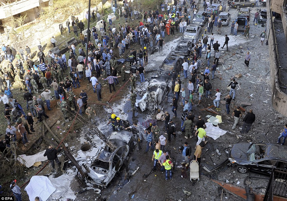 Devastation: An aerial view near the Iranian embassy in Beirut, where twin blasts have killed at least 20 people including the Iranian cultural attache