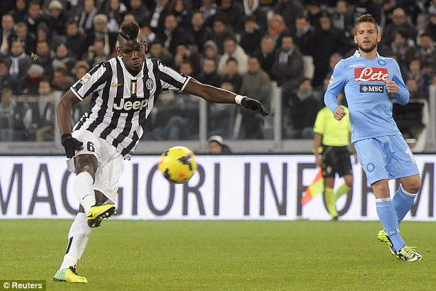 Extraordinary: Pogba has four goals this season, including a brilliant volley in the 3-0 win over Napoli