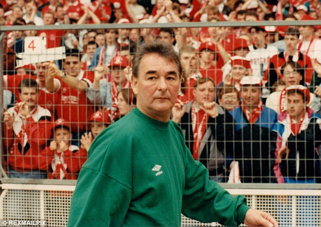 Managerial career: Clough, seen here walking round the pitch during Nottingham Forest's 2-1 defeat to Tottenham in the 1991 FA Cup final, was in charge at the City Ground for 18 seasons