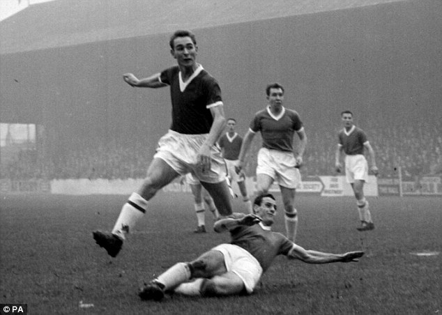 Northern football icon: Brian Clough, seen here shooting for Middlesbrough against Leyton Orient, features in the book