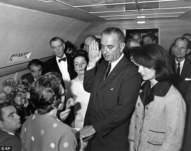 Evidence: Lady Bird Johnson asked if she wanted to change before Lyndon was sworn in as president on Air Force One (pictured) but Jackie responded 'I want them to see what they did to Jack'