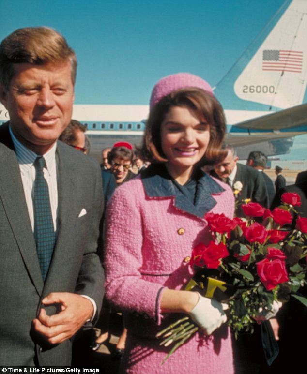Iconic: The pink and navy suit is now in the National Archives after the Kennedy heir, Caroline, gifted it to the government in 2003 under the condition that it would not be publicly displayed until 2103