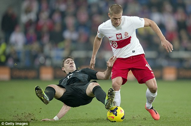 Sliding in: Poland's Piotr Celeban (right) attempts to hold off a challenge from Ireland's Stephen Ward