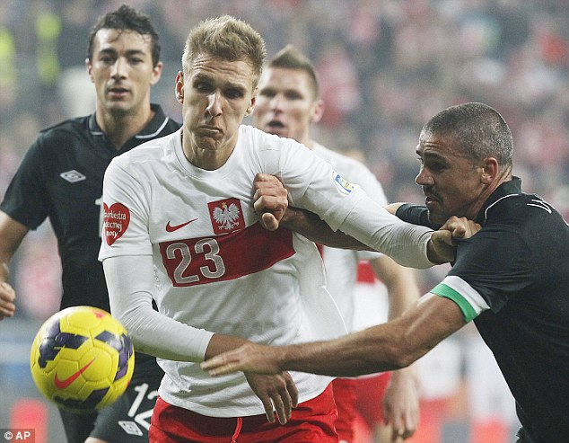 Scrappy: Poland's Lukasz Teodorczyk (left) and Ireland's Jonathan Walters in another tussle for possession