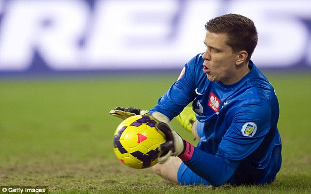 Diving low: In-form Poland goalkeeper Wojciech Szczesny makes a routine save as Ireland attack on goal
