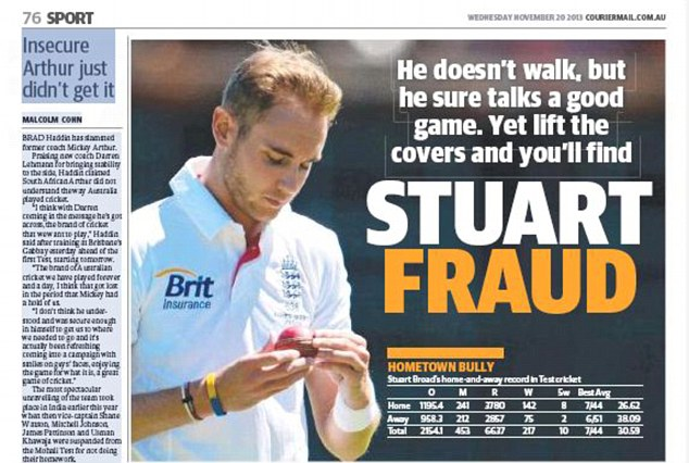 Lift the covers and you'll find Stuart Fraud: The offending headline from the Brisbane Courier Mail