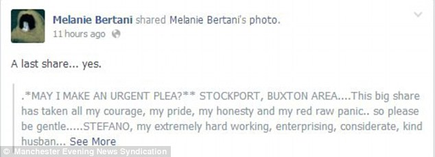 Viral: Mrs Bertani's request has been shared hundreds of times, and she says they have been offered advice and encouragement by strangers