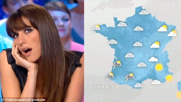 Promise: Weather presenter Doria Tillier vowed to host the forecast naked if France qualified for the World Cup