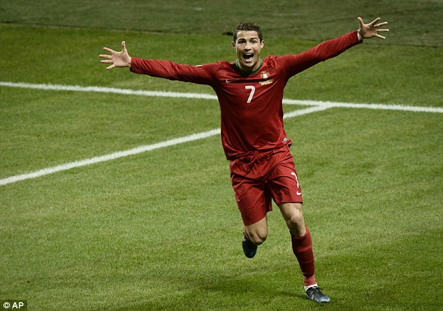Matchwinner: Cristiano Ronaldo netted a hat-trick against Sweden to book Portugal's World Cup spot