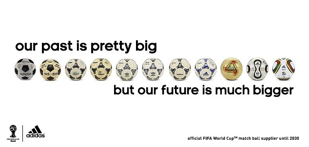 Big plans: Adidas released this promotional image to show their history of World Cup balls