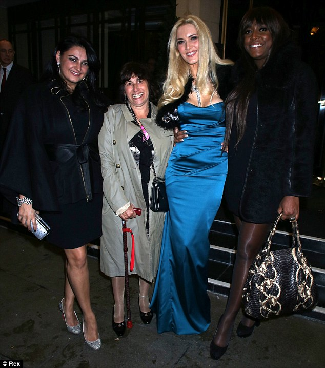 Cheese: (L-R) Kiran Sharma, Janice Winehouse, Emma Noble and Mica Paris posed up together outside the Dorchester