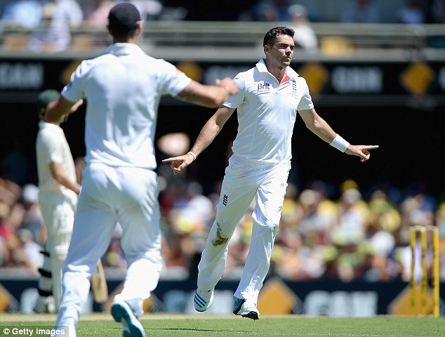 Cool and collected: James Anderson celebrates dismissing George Bailey as England bowled first