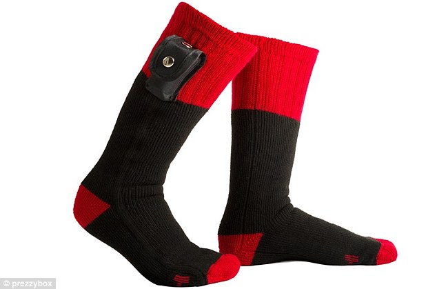 The wool-mix socks have a removable battery pack that heats them to a toasty 39 degrees for hours