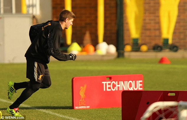 Put through his paces: Club captain Steven Gerrard will be fired up to face his long-term rivals at Goodison Park