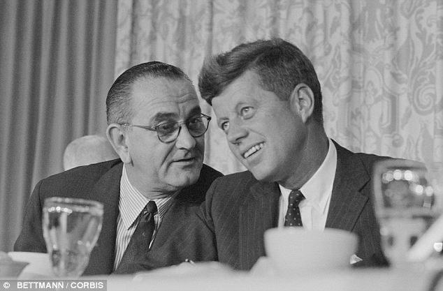 Power broker: Kennedy (right) reportedly called on Johnson (left) to use Baker's connections to assess various vote counts and to see how he could pass different initiatives like Medicare and the Voting Rights Act