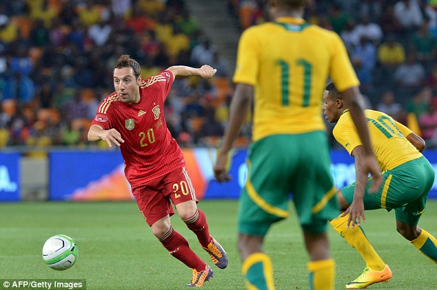 International duty: Cazorla playing for Spain in the 1-0 defeat to South Africa in Soweto on Tuesday