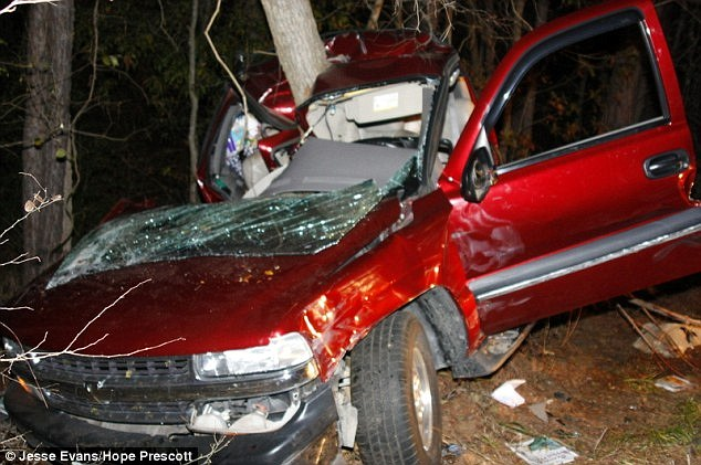 Driving dangerously: Coe clipped the Nevil's car causing it to hurl off the road. Coe had twice the legal limit of alcohol in his system at the time as well as his two young daughters in the car