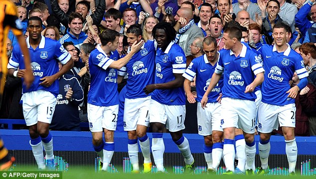 Wing wizard: Mirallas (third left) has proved to be an astute signing for the Goodison Park club