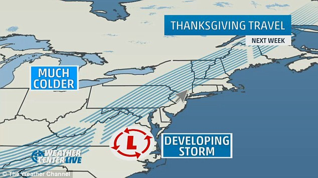 Chilly outlook: Arctic blasts and a developing storm are making for a frosty reception during Thanksgiving