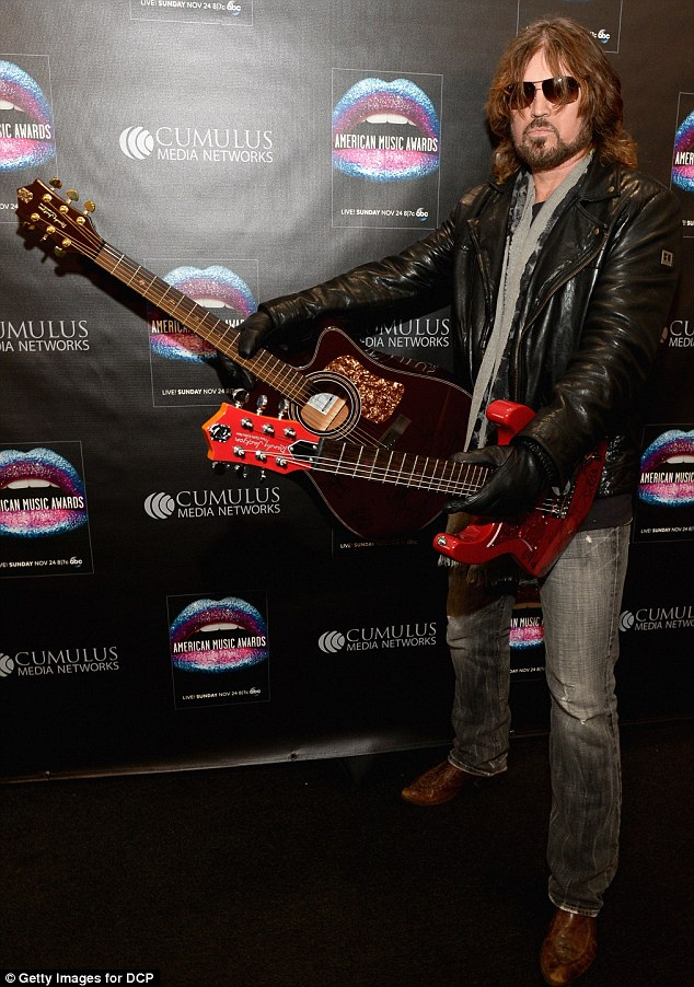 Star of the show: Billy was the main attraction at the American Music Awards Radio Room in Los Angeles