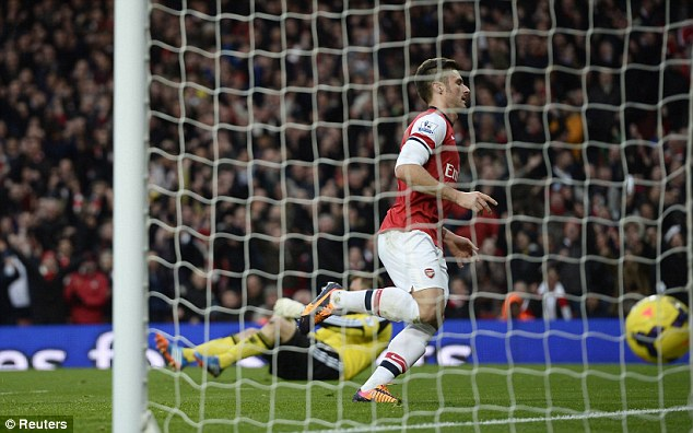 Job done: Giroud continued to lead the Arsenal line with aplomb as the Frenchman kept up his scoring run
