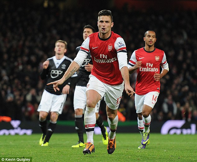 French fancy: Olivier Giroud continued his stunning run of form with a double for Arsenal against Southampton