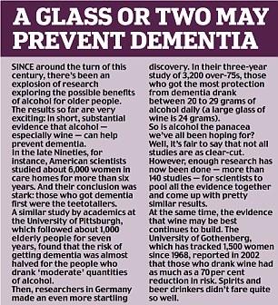 Wine prevents dementia