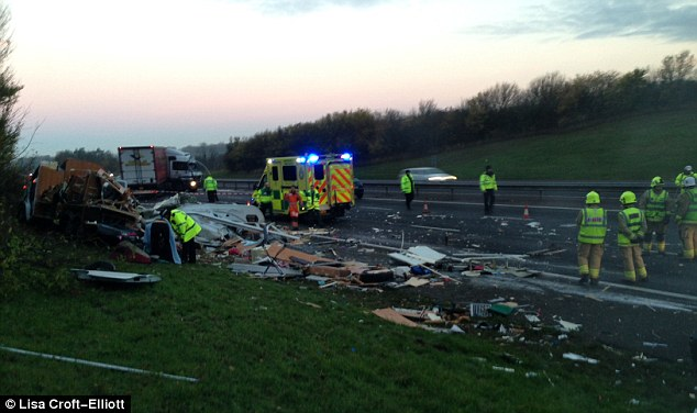 Response: Emergency services personnel investigate the scene on the motorway while all three northbound lanes were closed