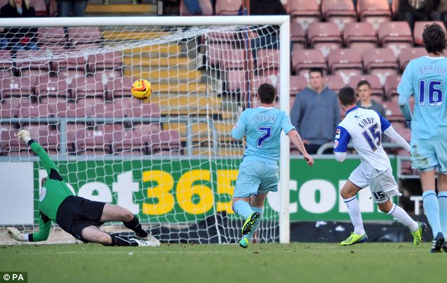 Strike: Tranmere Rovers's Jake Kirby scores the second goal in 5-1 demolition of Coventry