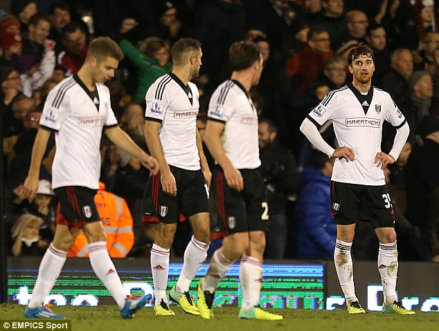 Slumped: Fulham stayed in the relegation after their fourth Premier League defeat in a row