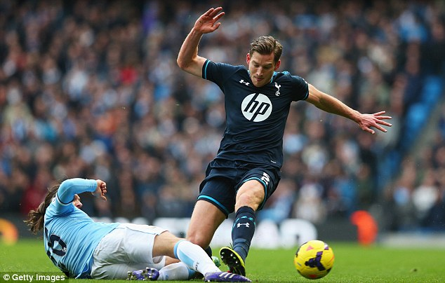 Out of position: Jan Vertonghen has played at left back for Andre Villas-Boas and he doesn't want to play there