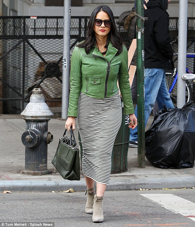 Favourite colour? Olivia Munn dressed in almost head to toe green as she headed out for a spot of shopping in New York on Saturday