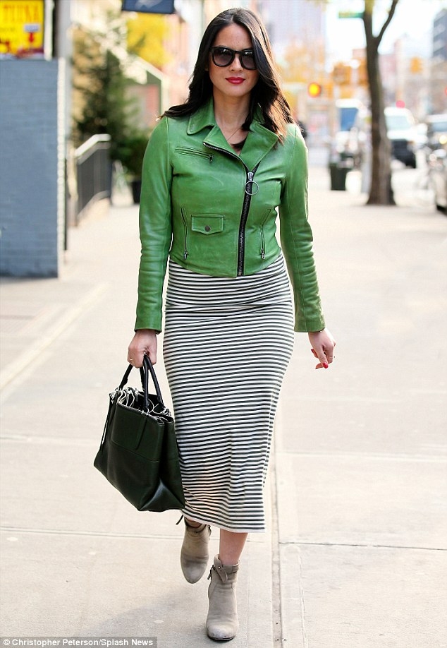 Favourite colour? Keeping with her colour trend, the Magic Mike star added a large forest green leather tote handbag