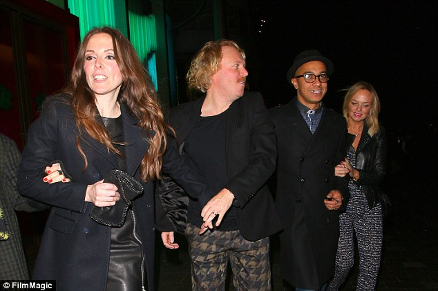 Double date: Leigh Francis and his wife Jill Carter joined Emma and Jade on their night out in London on Saturday