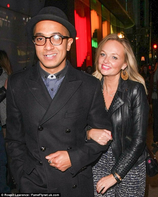 Date night: Emma Bunton enjoys a rare night out with long term love Jade Jones in London