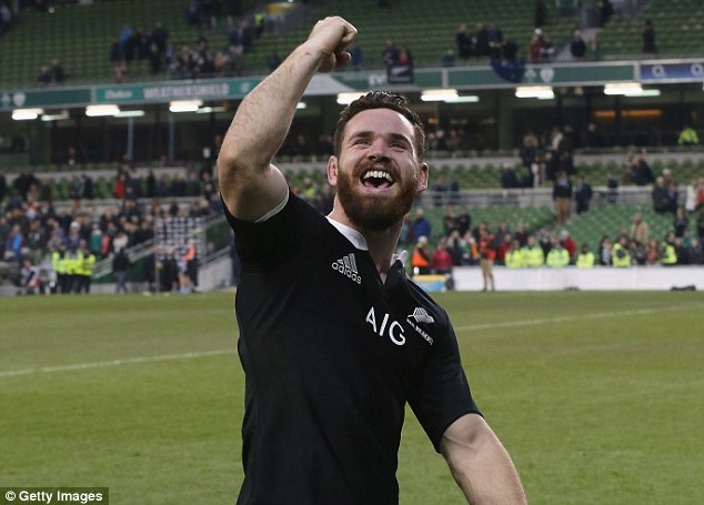 You beauty: Crotty celebrates his last-ditch try to tie up the game, before Cruden converted for the win