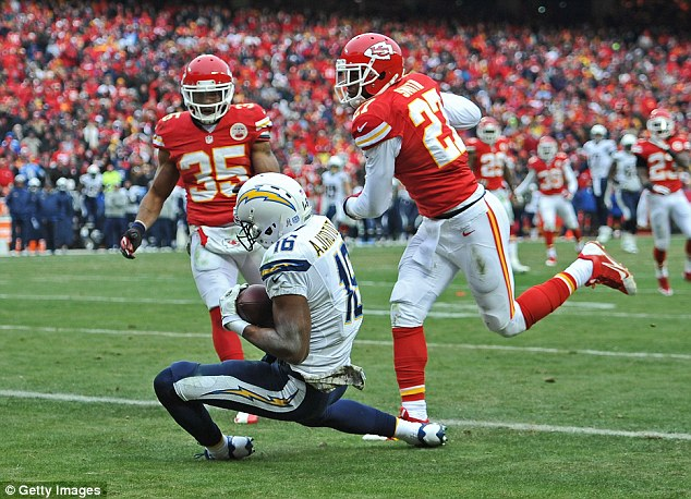 Safe hands: San Diego Chargers wide receiver Seyi Ajirotutu catches a 26-yard touchdown pass