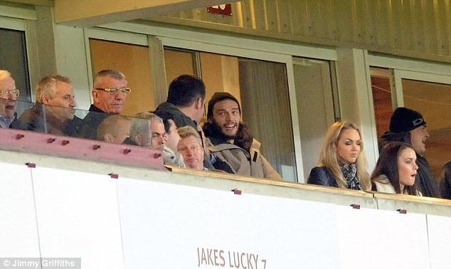 Gamble: Andy Carroll was at Upton Park on Saturday but was watching from the stands once again