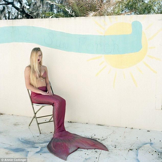 Suntanning: A mermaid sits on the 'sun porch' at the theme park
