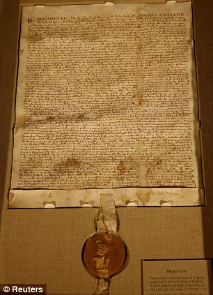 Rule of law: The English were responsible for the Magna Carta, pictured. The document limits the power of kings, and was signed in 1215