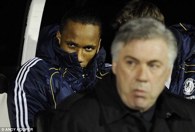Benched: Didier Drogba once turned up late on game day so Ancelotti dropped him from the side