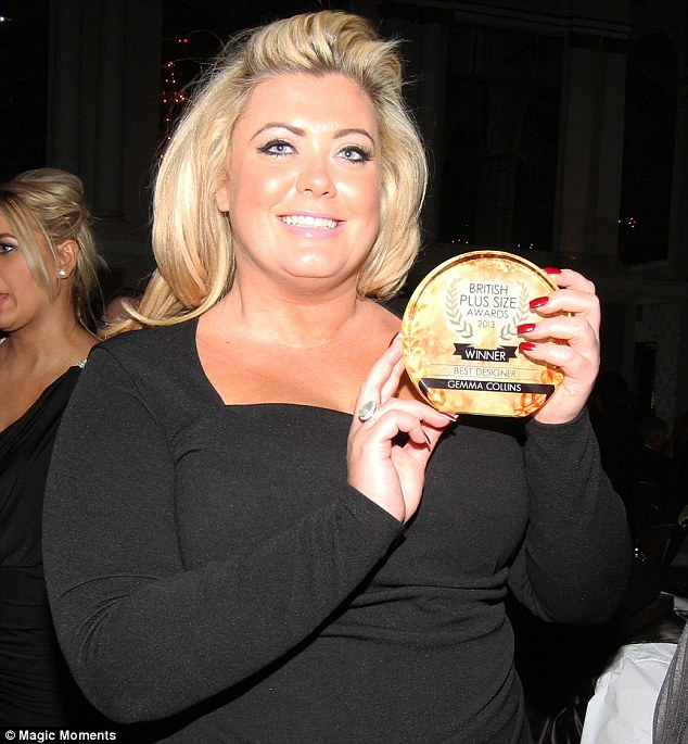 Excitement: Gemma posed up with her award later in the evening