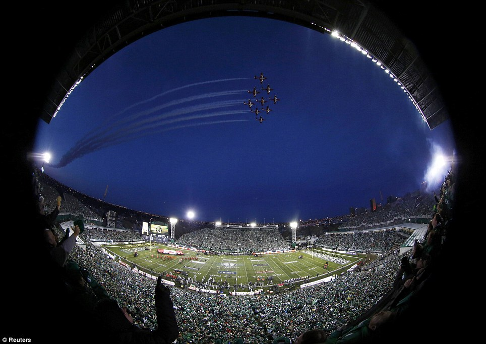 The pre-game ceremonies at the Canadian Football League's 101st Grey Cup Championship game between the Saskatchewan Roughriders and Hamilton Tiger-Cats