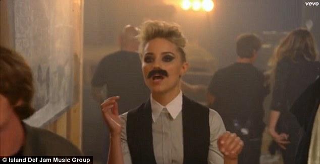 Going Mo: The actress donned a moustache to mirror a previous era of Brandon