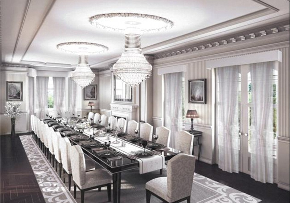 Fine dining: There will be no problem fitting people around the table in this luxury dining room which can be found in the Holland Park property