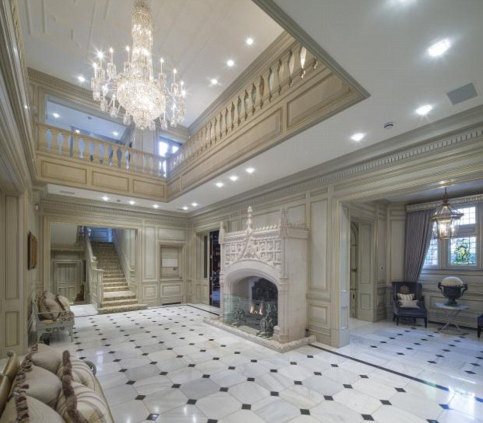 Fancy: The grand hallway in this Hampstead home leads to eight bedrooms. It could all be yours for £49million