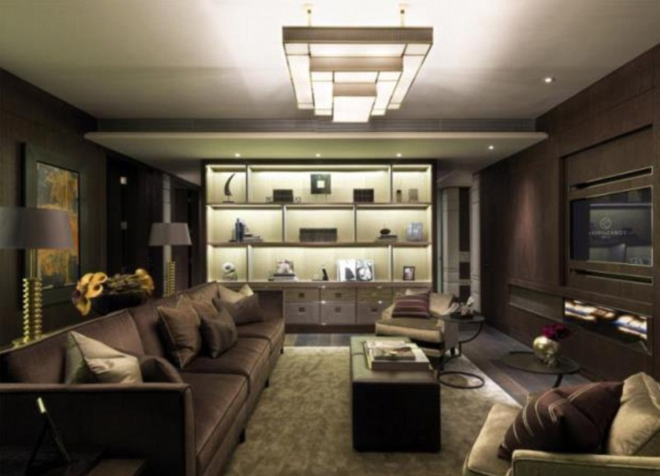 The living room: Kick back and relax in this plush pad in Kinightbridge, one of London's most exclusive neighbourhoods