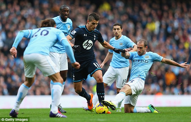 Crowded out: Club record signing Erik Lamela has started just one game Premier League match this season